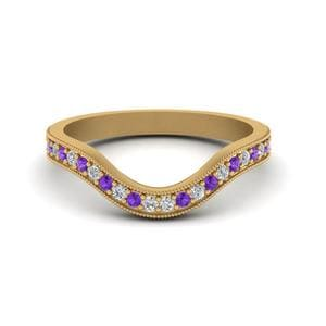 Purple Topaz Womens Diamond Band
