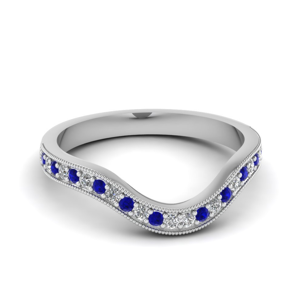 Milgrain Pave Curved Diamond sapphire Band