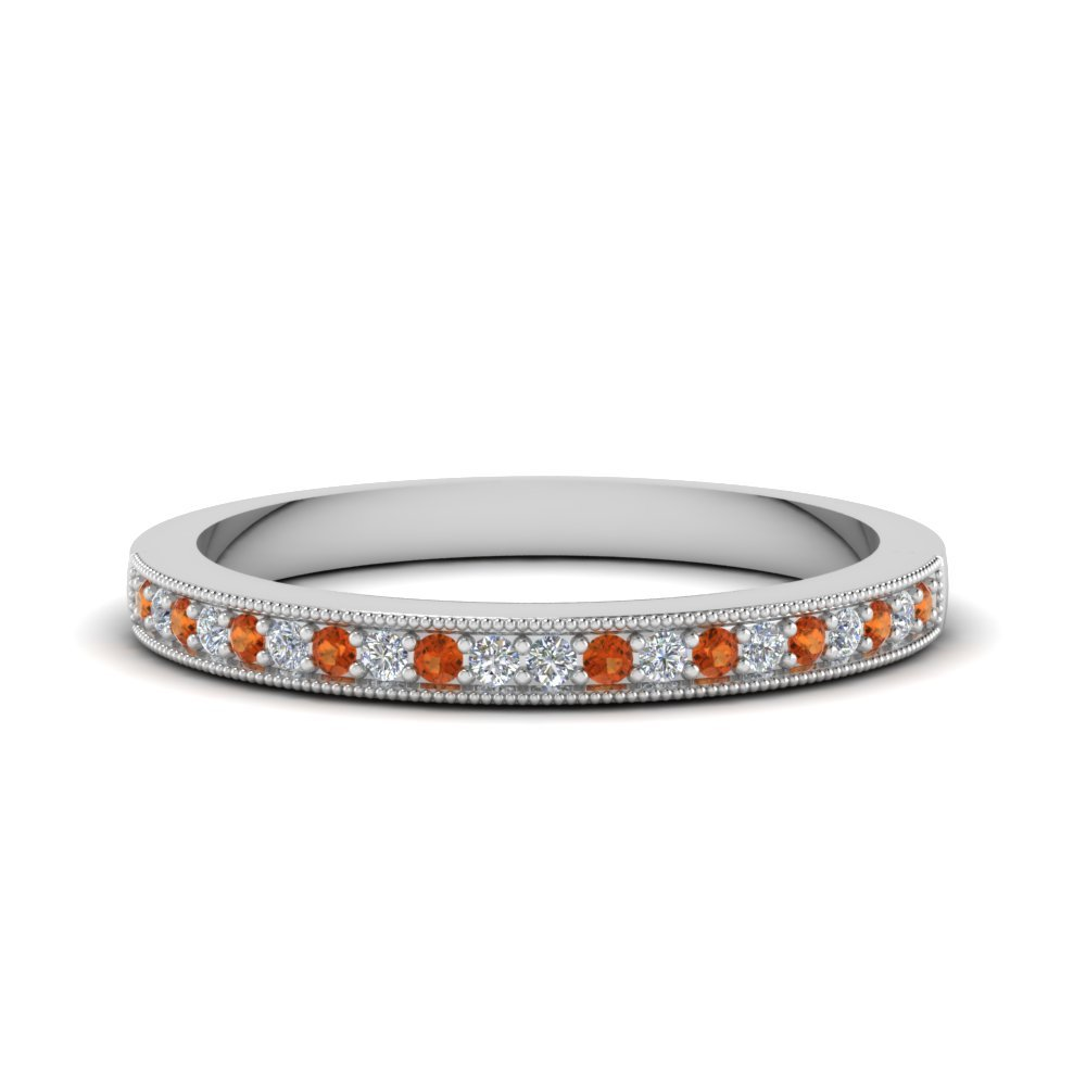 Milgrain Pave Diamond Band With Orange Sapphire In 14K White Gold