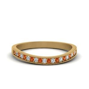 Pave Orange Sapphire Wedding Band