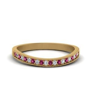 Pink Sapphire Curved Wedding Band