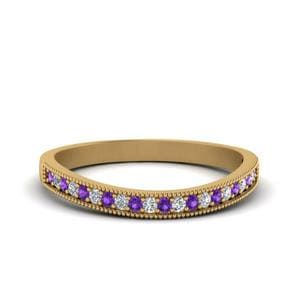 Pave Purple Topaz Wedding Band