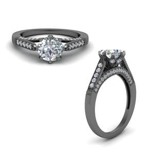 Milgrain Pave Diamond Engagement Ring In 14K Black Gold