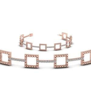 Milgrain Square Diamond Bracelet In 14K Rose Gold
