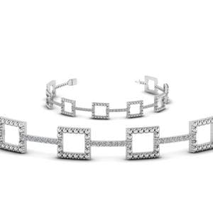 Milgrain Square Round Diamond Bracelet In 14K White Gold