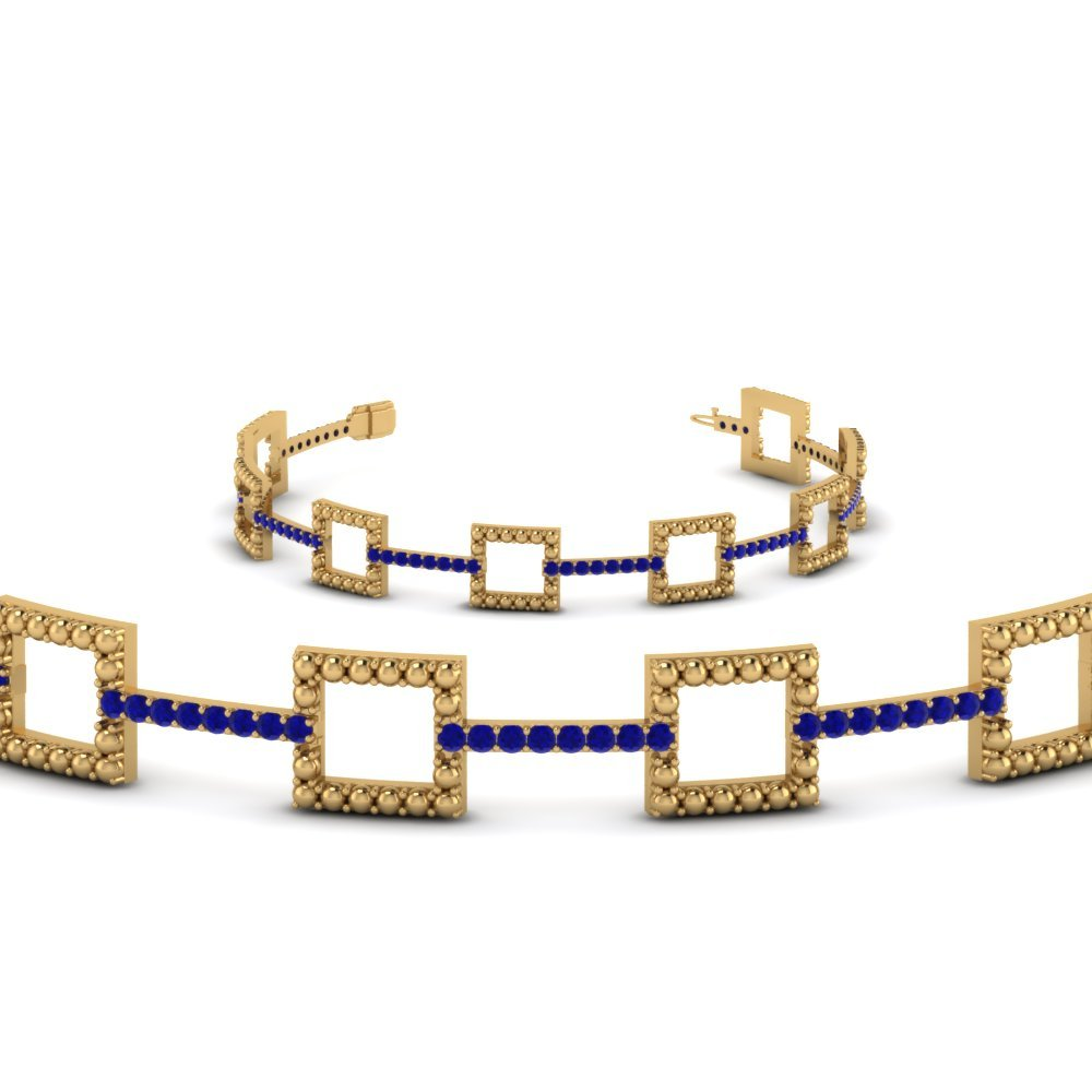Milgrain Square Round Diamond Bracelet With Blue Sapphire In 14K Yellow Gold
