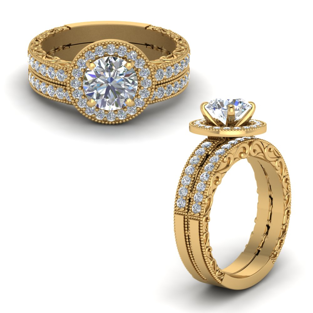 Milgrain Vintage Halo Diamond Bridal Ring Set In 14K Yellow Gold