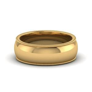 Milgrain Wedding Mens Band 7MM