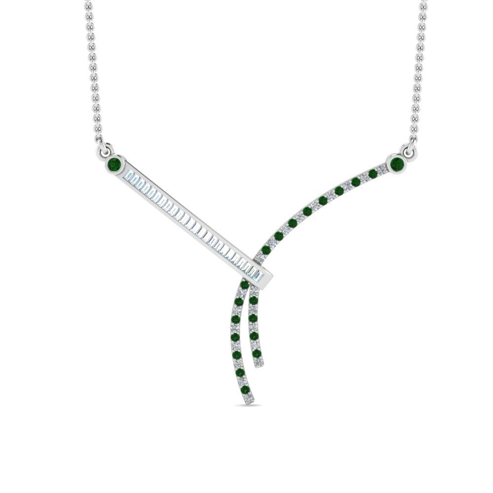 Emerald Bar Diamond Necklace