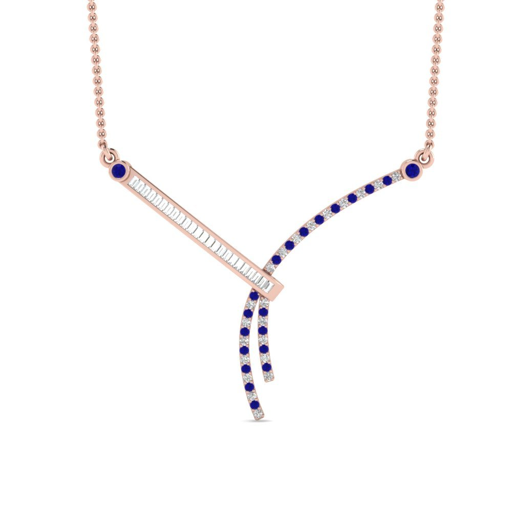 Modern Bar Diamond Sapphire Necklace