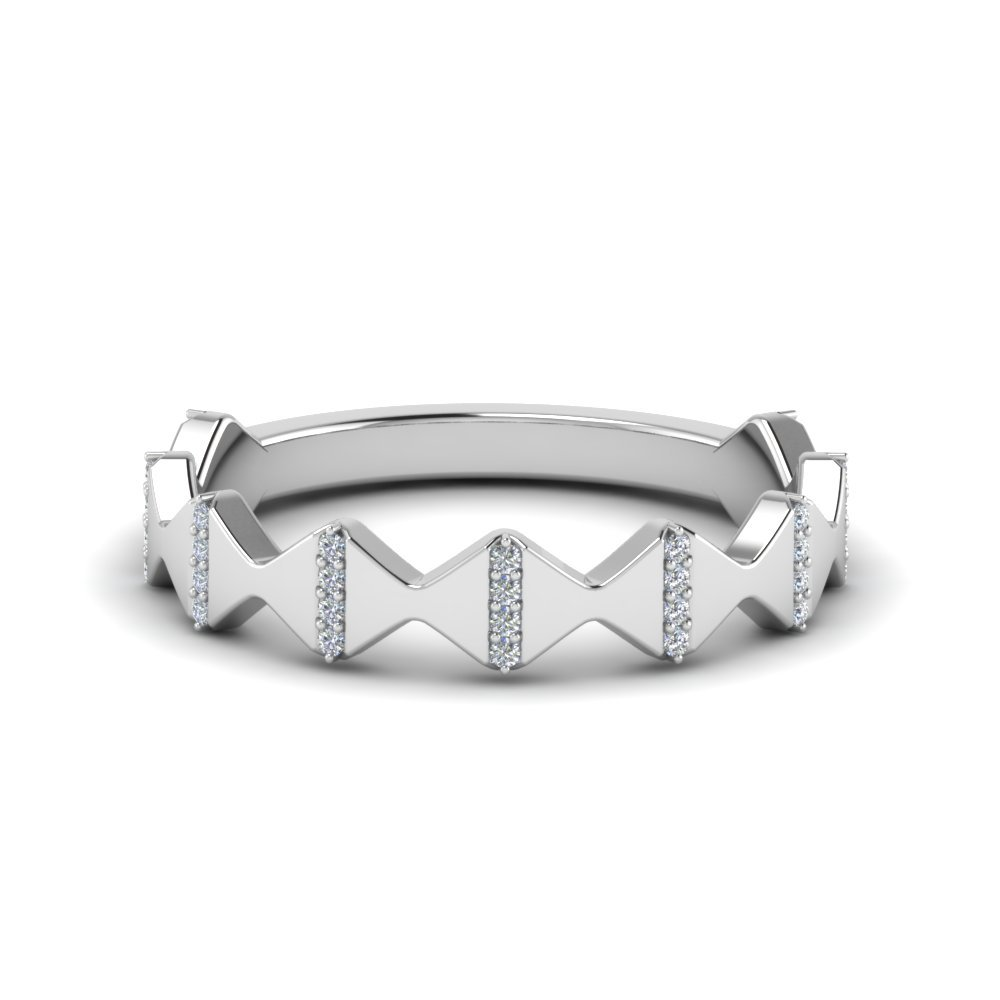 Modern Zigzag Band With Diamonds