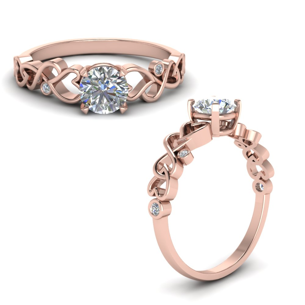 Mom Filigree Diamond Ring In 14K Rose Gold