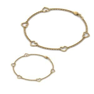 Mother Daughter Bracelet In 18K Yellow Gold