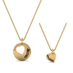 Mother Daughter Engraved Necklace In 14K Yellow Gold