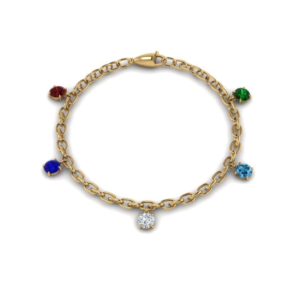 14K Yellow Gold Mothers Day Charm Bracelet