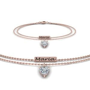 Multi Chain Engraved Mom Diamond Bracelet In 18K Rose Gold