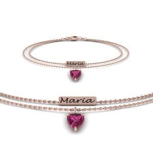 Multi Chain Engraved Mom Pink Sapphire Bracelet In 14K Rose Gold