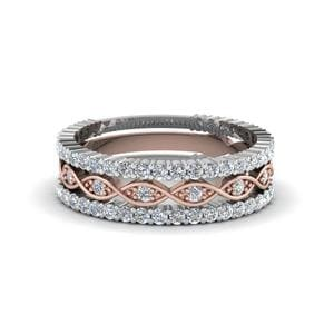 Multi Stack 2 Tone Diamond Wedding Band