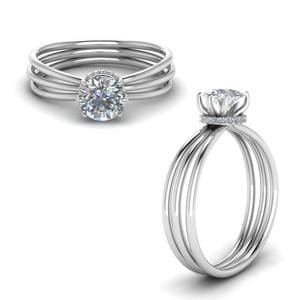 Multi Strand Diamond Engagement Ring In 14K White Gold