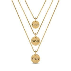 Multi Strand Necklace With Names In 14K Yellow Gold