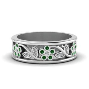 Emerald Flower And Leaf Band
