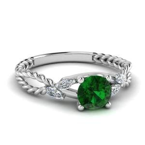 Nature Inspired Emerald Stone Ring In 14K White Gold