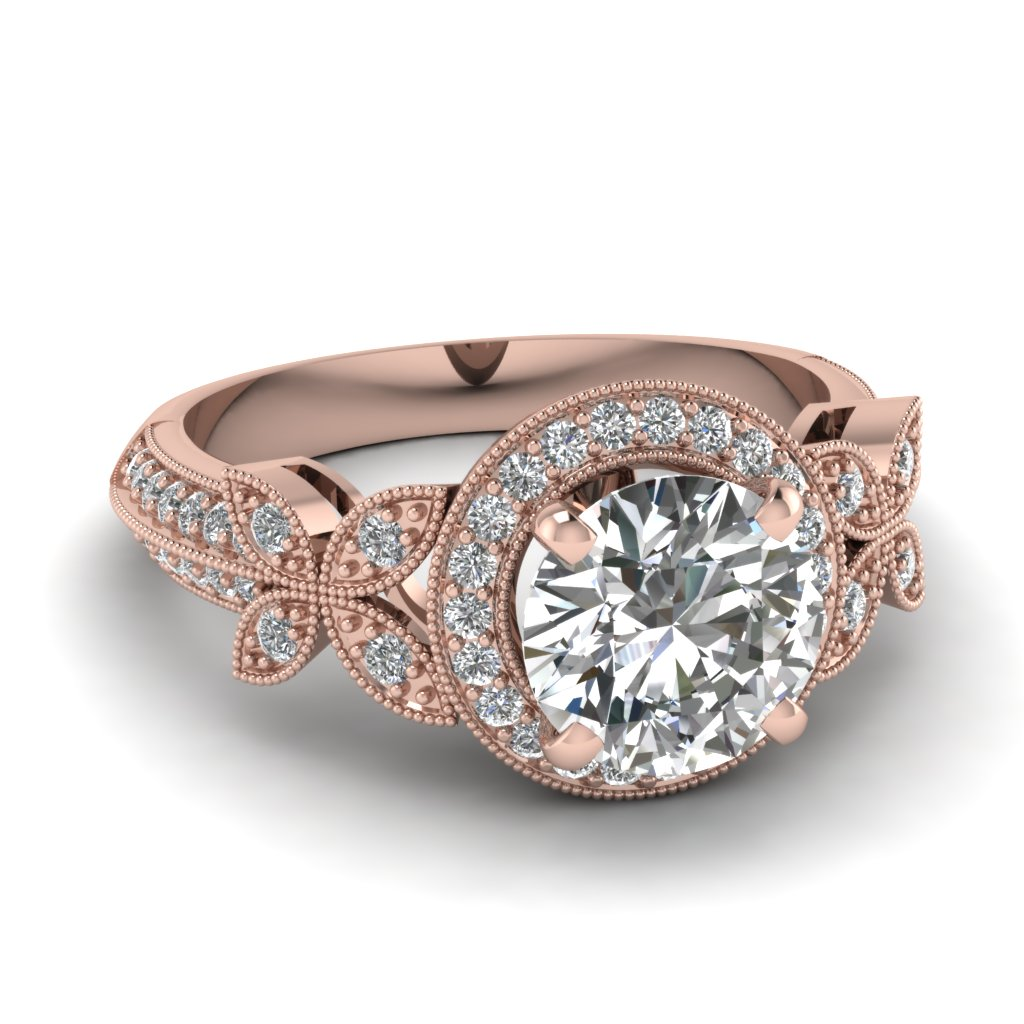 Nature Inspired Round Halo Vintage Diamond Engagement Ring In 14K Rose Gold