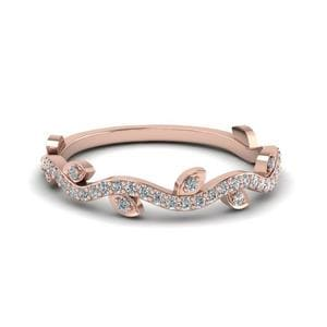 Nature Wedding Diamond Band In 14K Rose Gold