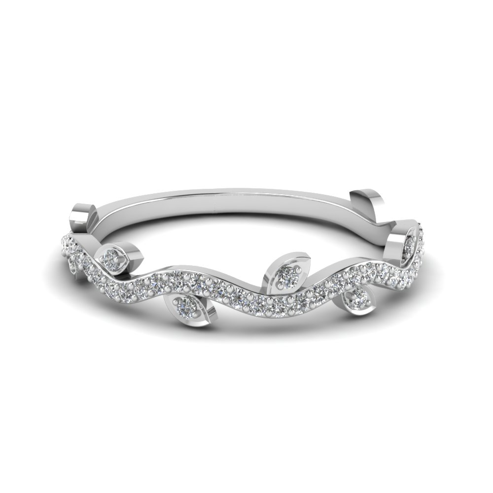 Nature Wedding Diamond Band In 18K White Gold