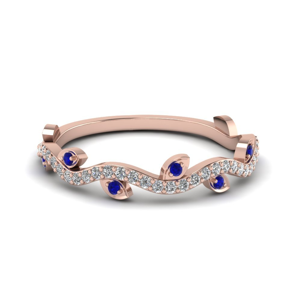 Nature Wedding Diamond Band With Blue Sapphire In 14K Rose Gold