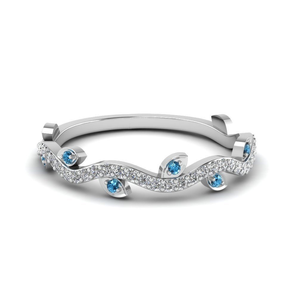 Nature Wedding Diamond Band With Ice Blue Topaz In 950 Platinum