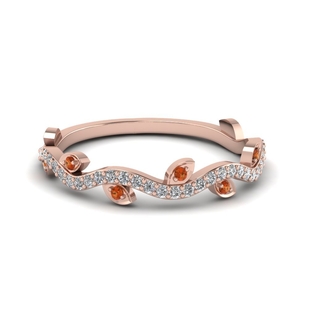 Nature Wedding Diamond Band With Orange Sapphire In 14K Rose Gold