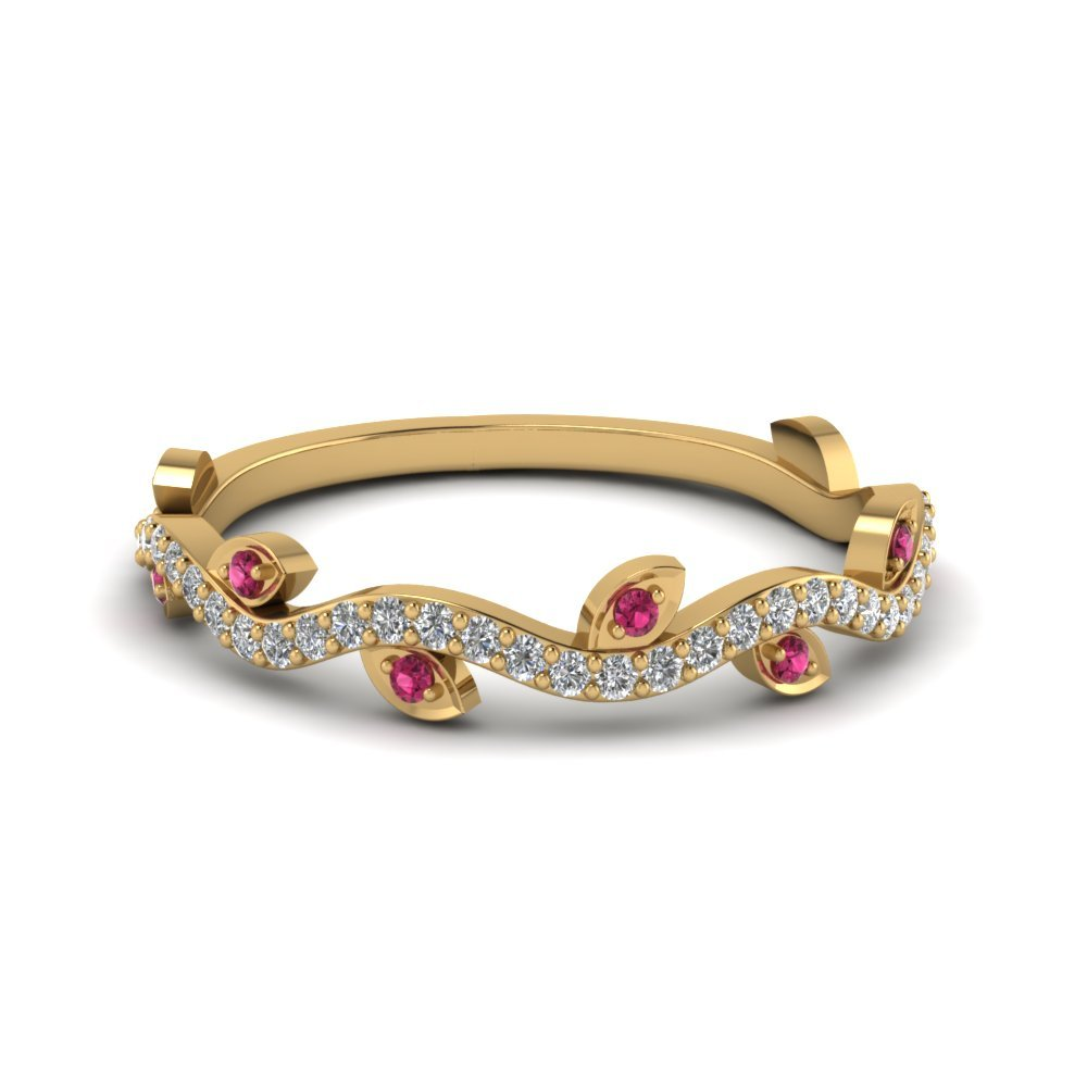 Nature Wedding Diamond Band With Pink Sapphire In 14K Yellow Gold