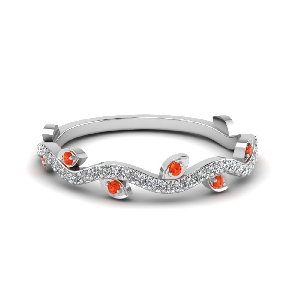 Nature Wedding Diamond Band With Poppy Topaz In 18K White Gold
