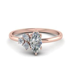 Non Traditional Petite Diamond Engagement Ring In 14K Rose Gold