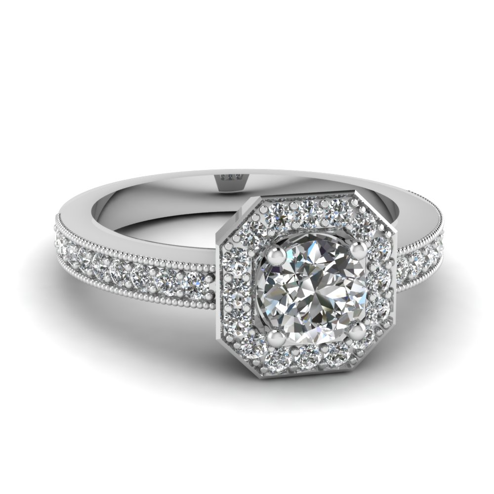 Octagon Round Halo Diamond Ring