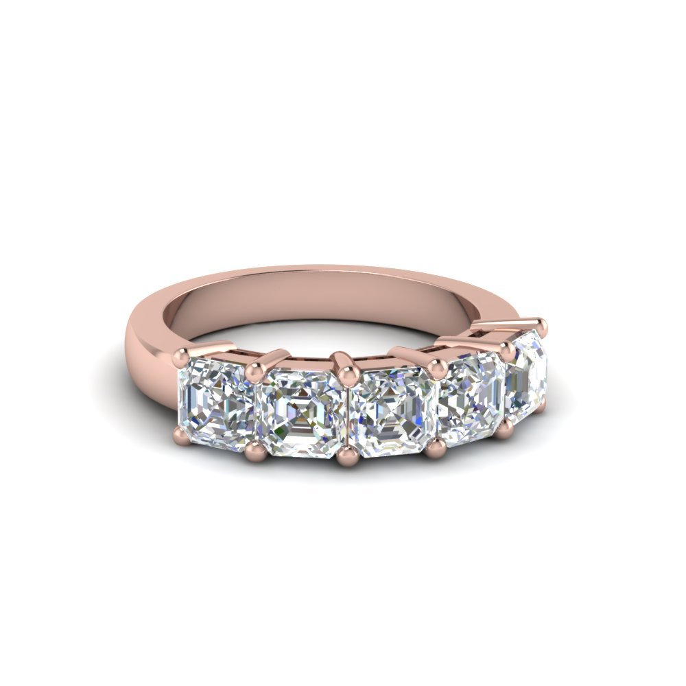 One Carat Diamond 5 Stone Band Gift In 14K Rose Gold