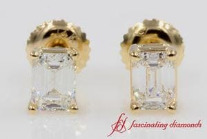 One Carat Emerald Cut Screw Back Diamond Earring Yellow Gold