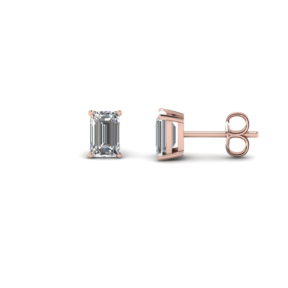 1 Ct. Emerald Cut Earring 18K Rose Gold