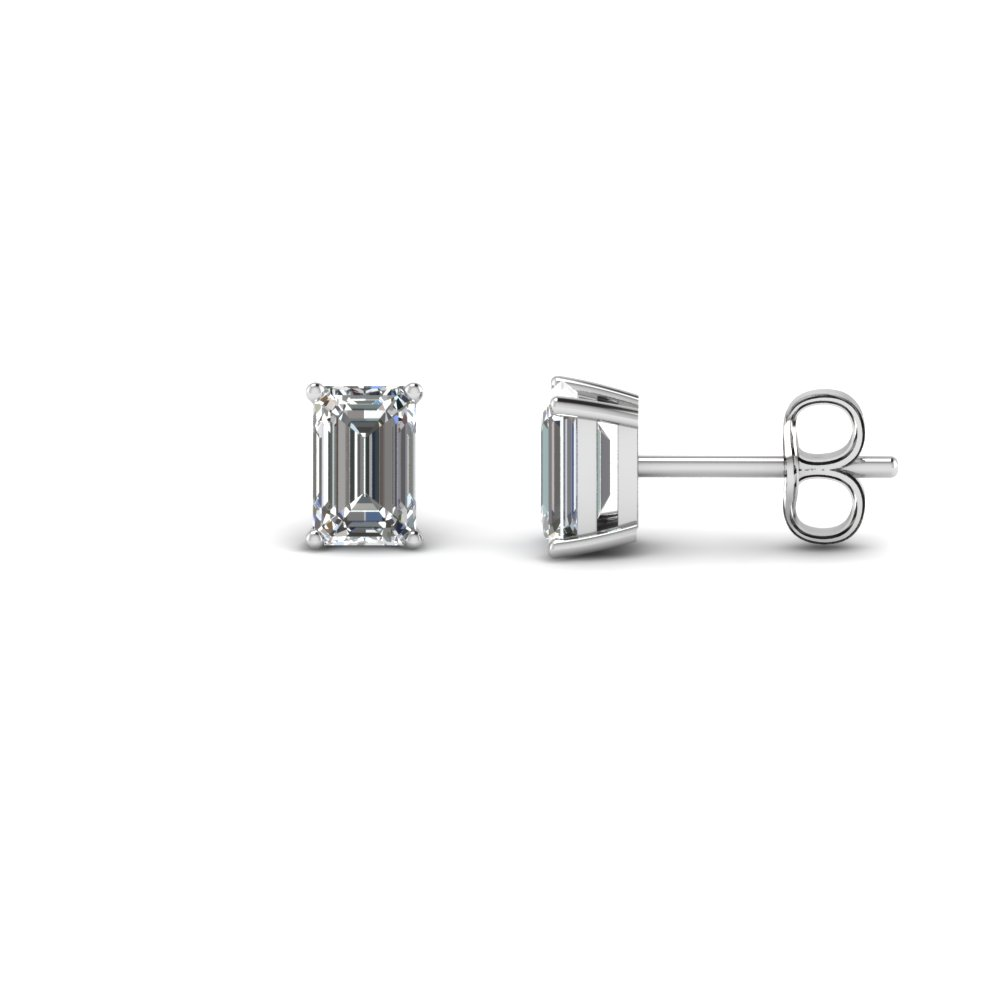 18K White Gold Stud Earring One Karat