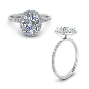 One Carat Oval Halo Diamond Ring