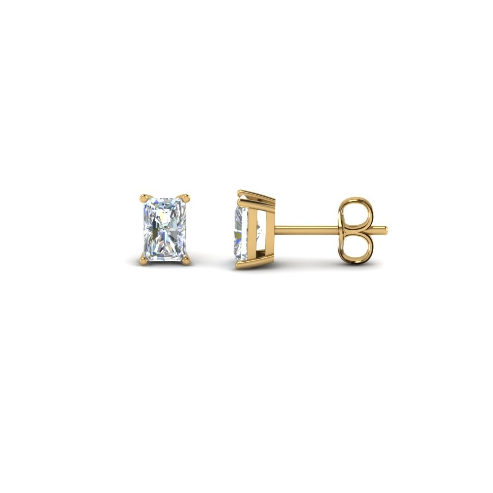 One Carat Radiant Stud Earring
