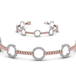 Open Circle Diamond 2 Tone Twist Bracelet
