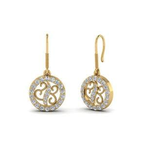 Open Circle Round Diamond Dangle Earring For Women In 18K Yellow Gold