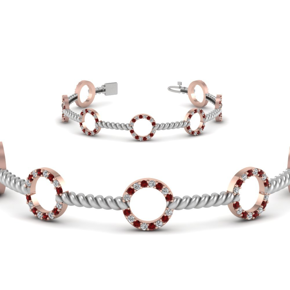Open Circle Ruby 2 Tone Twist Bracelet In 14K Rose Gold