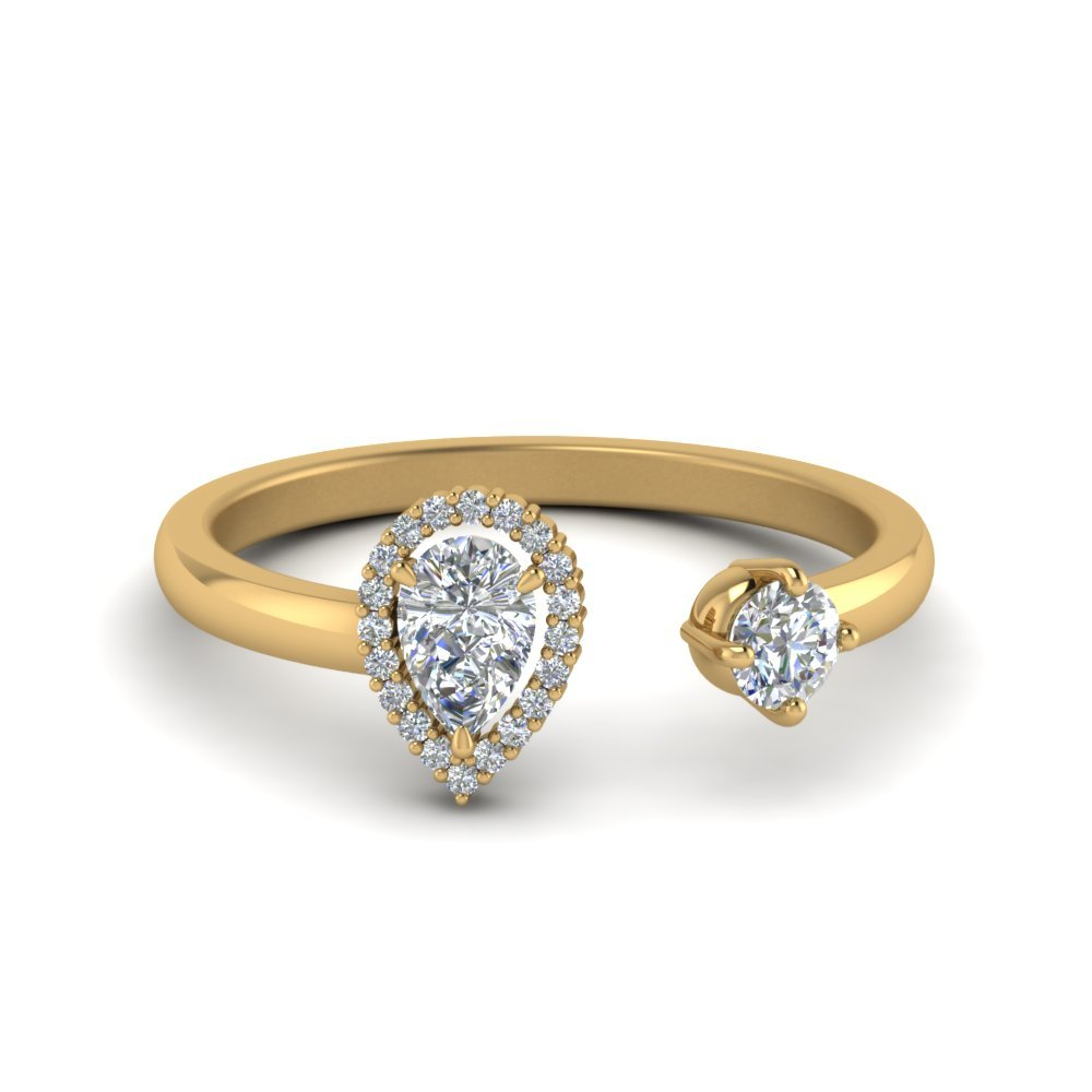 Open Halo Pear Two Stone Diamond Ring