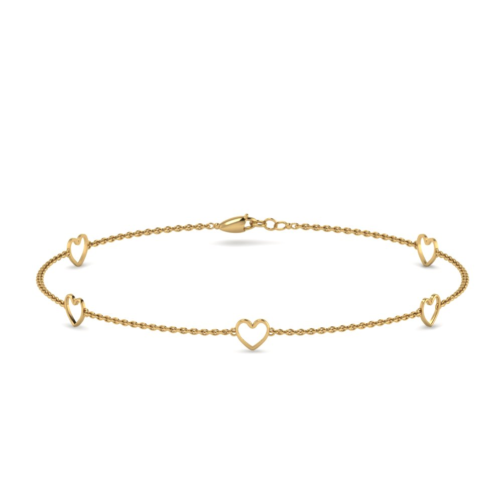18K Yellow Gold Open Heart Bracelet