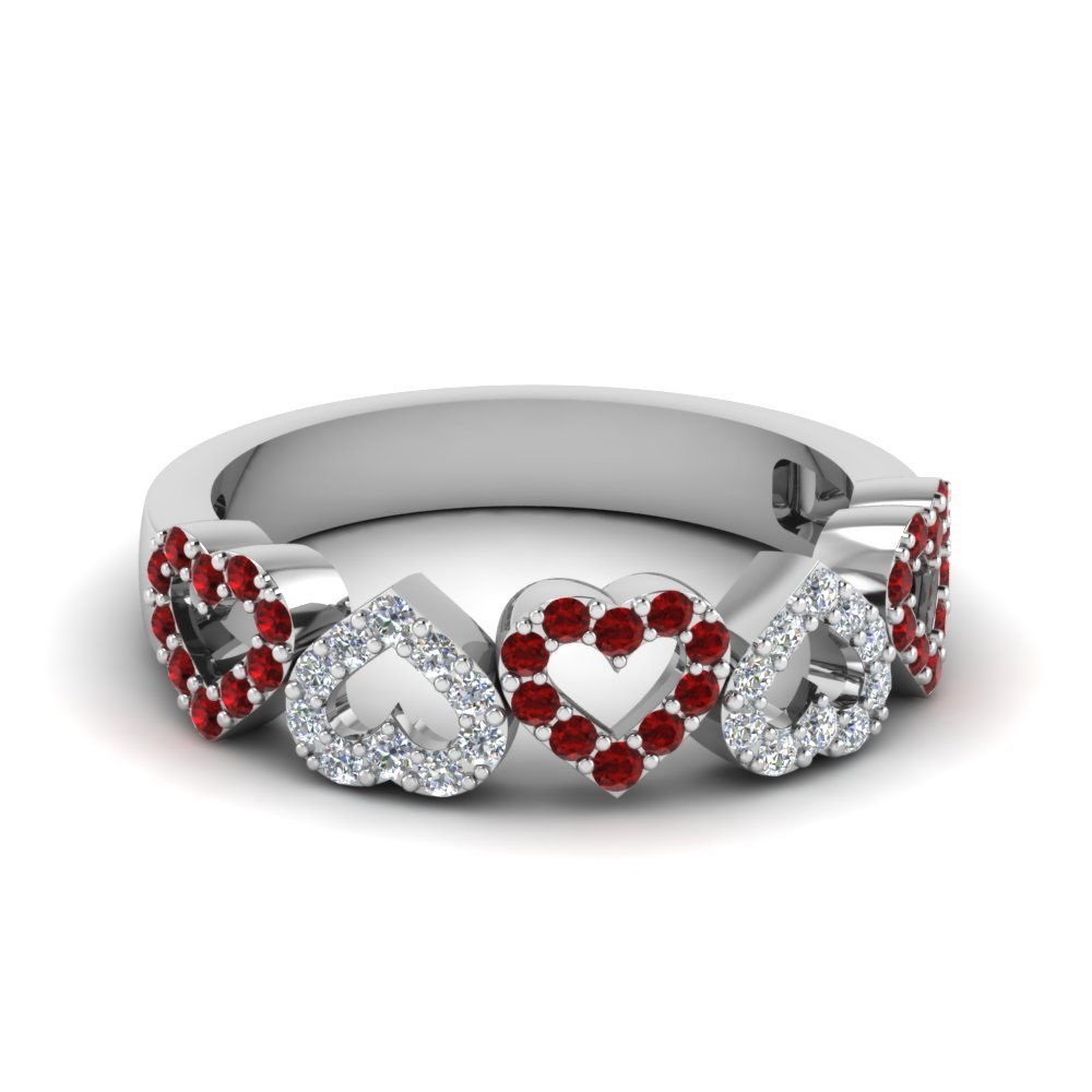 Open Heart Diamond Anniversary Band With Ruby In 14K White Gold