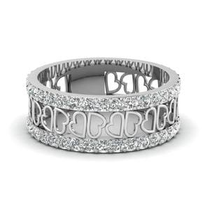 Open Heart Diamond Wide Band