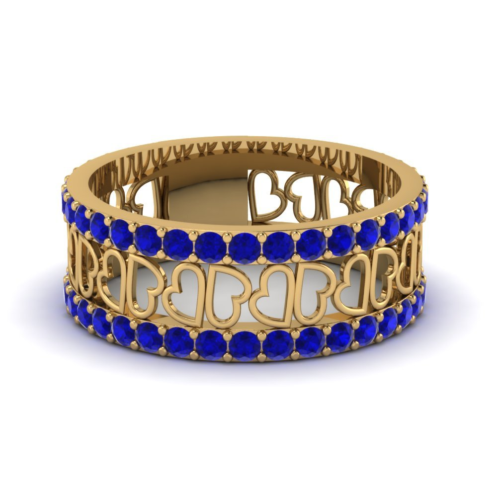 Open Heart Pattern Sapphire Wide Band